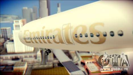 Airbus A340-300 Emirates für GTA San Andreas Rückansicht