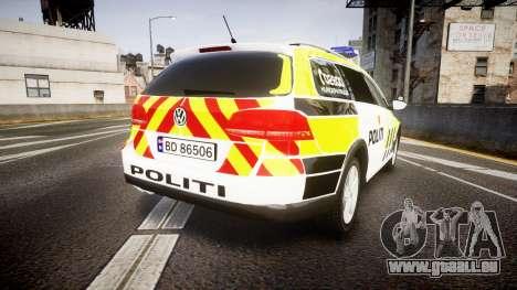 Volkswagen Passat B7 Police 2015 [ELS] marked für GTA 4 hinten links Ansicht