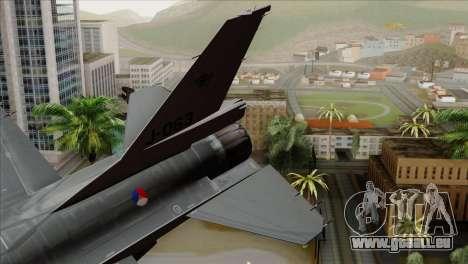 F-16AM Fighting Falcon pour GTA San Andreas sur la vue arrière gauche