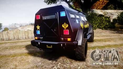 GTA V HVY Insurgent Pick-Up SWAT [ELS] pour GTA 4 Vue arrière de la gauche
