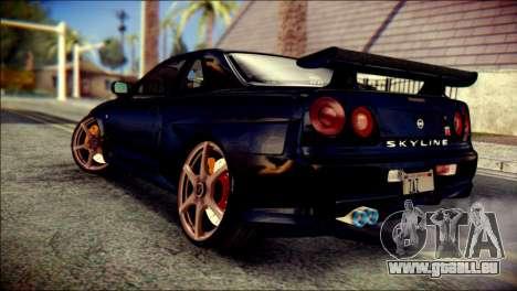 Nissan Skyline GTR V Spec II v2 pour GTA San Andreas laissé vue