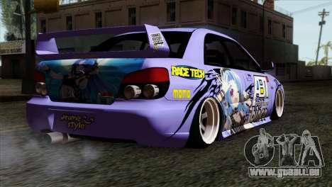Subaru Impreza WRX STI 5pb Itasha pour GTA San Andreas laissé vue