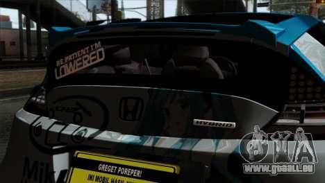 Honda CRZ Mugen Stance Miku Itasha pour GTA San Andreas vue arrière
