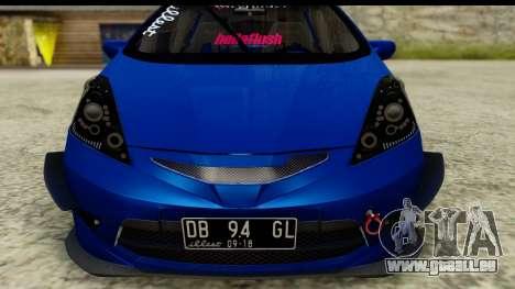 Honda Fit 2009 JDM Modification pour GTA San Andreas sur la vue arrière gauche