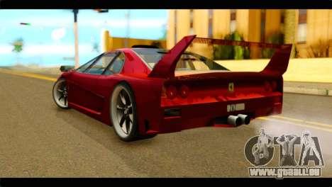 Turismo F40 pour GTA San Andreas laissé vue