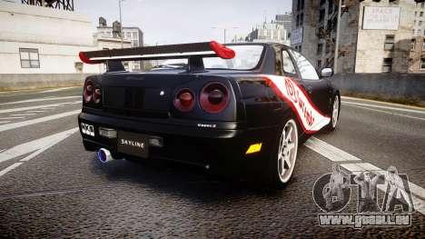 Nissan Skyline R34 GT-R Mines pour GTA 4 Vue arrière de la gauche
