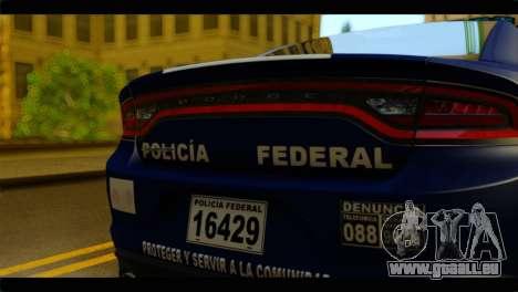 Dodge Charger 2015 Mexican Police pour GTA San Andreas vue arrière
