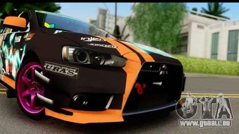 Mitsubishi Lancer Evolution X 2014 Itasha pour GTA San Andreas sur la vue arrière gauche