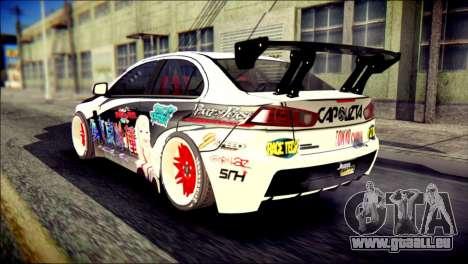 Mitsubishi Lancer Evolution X Juuzo Itasha für GTA San Andreas linke Ansicht