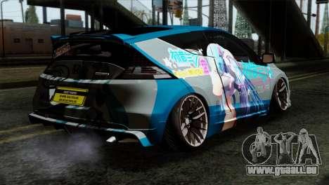 Honda CRZ Mugen Stance Miku Itasha für GTA San Andreas linke Ansicht