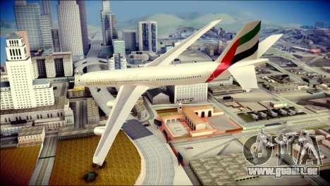 Airbus A340-300 Emirates für GTA San Andreas linke Ansicht