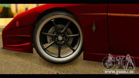 Turismo F40 pour GTA San Andreas sur la vue arrière gauche