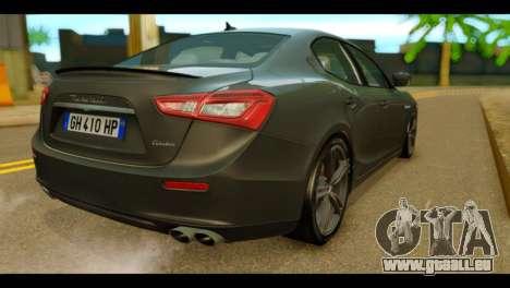 Maserati Ghibli S 2014 v1.0 EU Plate für GTA San Andreas linke Ansicht