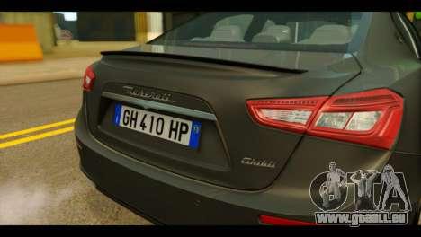 Maserati Ghibli S 2014 v1.0 EU Plate für GTA San Andreas Rückansicht