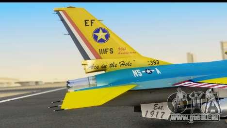F-16C USAF 111th FS 90th Anniversary für GTA San Andreas Rückansicht