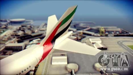 Airbus A340-300 Emirates pour GTA San Andreas sur la vue arrière gauche