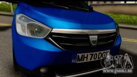 Dacia Lodgy 2014 pour GTA San Andreas sur la vue arrière gauche