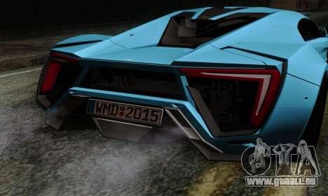 Lykan Hypersport 2014 EU Plate Livery Pack 1 für GTA San Andreas Rückansicht