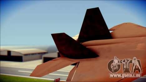 F-22 Raptor G1 Starscream pour GTA San Andreas sur la vue arrière gauche