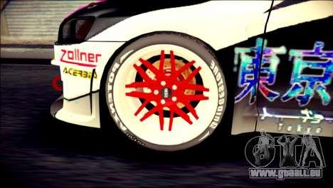 Mitsubishi Lancer Evolution X Juuzo Itasha für GTA San Andreas zurück linke Ansicht