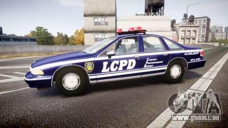 Chevrolet Caprice 1993 LCPD WH Auxiliary [ELS] pour GTA 4 est une gauche