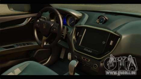 Maserati Ghibli S 2014 v1.0 SA Plate für GTA San Andreas zurück linke Ansicht