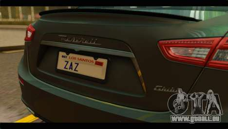 Maserati Ghibli S 2014 v1.0 SA Plate pour GTA San Andreas vue de droite