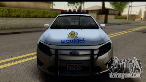 Ford Fusion 2011 Sri Lanka Police pour GTA San Andreas sur la vue arrière gauche