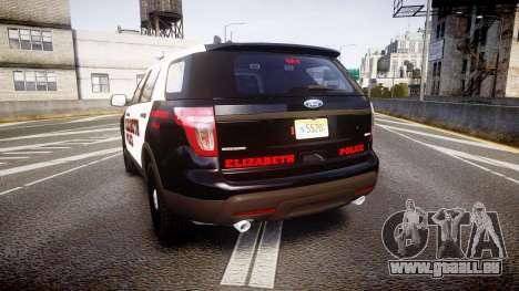 Ford Explorer 2011 Elizabeth Police [ELS] v2 für GTA 4 hinten links Ansicht