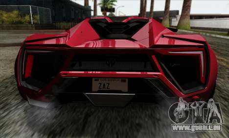 Lykan Hypersport 2014 Livery Pack 1 pour GTA San Andreas vue arrière