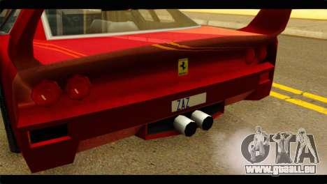 Turismo F40 pour GTA San Andreas vue arrière