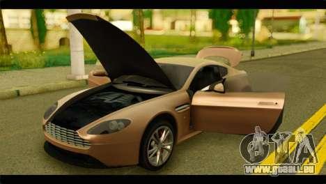 Aston Martin V12 Vantage für GTA San Andreas Rückansicht