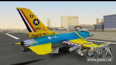 F-16C USAF 111th FS 90th Anniversary pour GTA San Andreas sur la vue arrière gauche