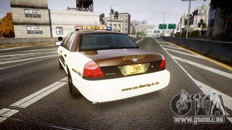 Ford Crown Victoria Liberty Sheriff [ELS] für GTA 4 hinten links Ansicht