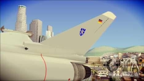 EuroFighter Typhoon 2000 Luftwaffe pour GTA San Andreas sur la vue arrière gauche