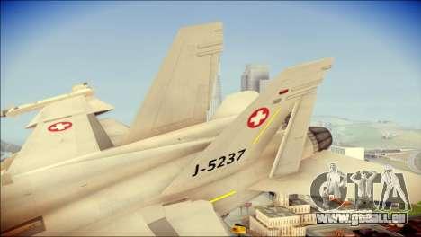 F-18D Swiss Air Force pour GTA San Andreas sur la vue arrière gauche