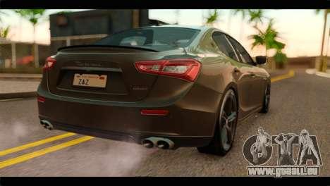 Maserati Ghibli S 2014 v1.0 SA Plate pour GTA San Andreas laissé vue