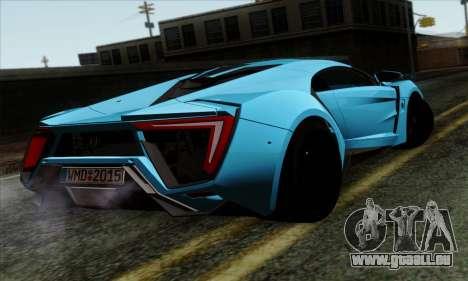 Lykan Hypersport 2014 EU Plate Livery Pack 1 pour GTA San Andreas laissé vue