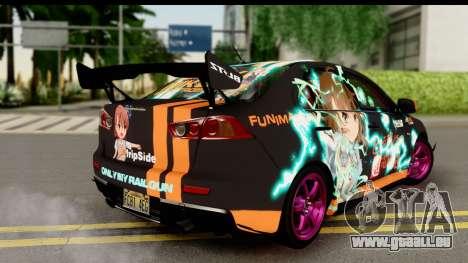 Mitsubishi Lancer Evolution X 2014 Itasha pour GTA San Andreas laissé vue