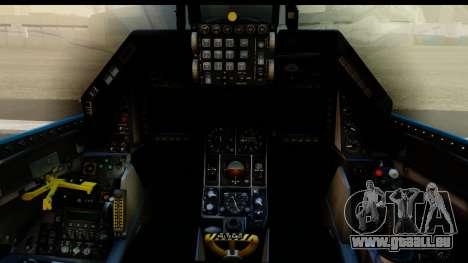 F-16C USAF 111th FS 90th Anniversary pour GTA San Andreas vue intérieure
