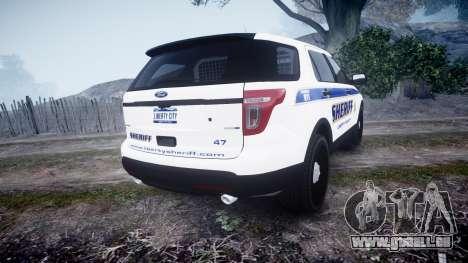 Ford Explorer Police Interceptor [ELS] slicktop pour GTA 4 Vue arrière de la gauche