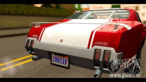 GTA 5 Declasse Sabre GT Turbo für GTA San Andreas Rückansicht