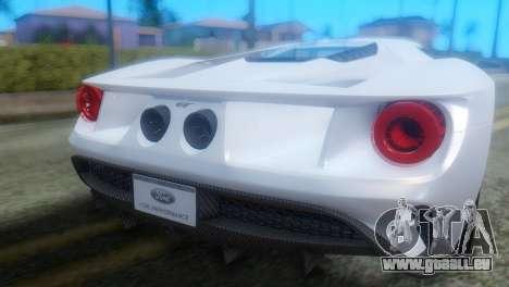 Ford GT 2017 für GTA San Andreas Rückansicht