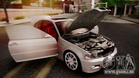 BMW M3 E46 v2 pour GTA San Andreas vue de dessous
