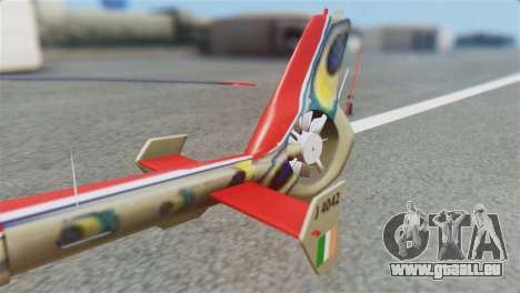 Indian Air Force EC-135 Dhruv SARANG Skin für GTA San Andreas zurück linke Ansicht