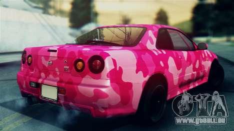 Nissan Skyline R34 Camo Drift pour GTA San Andreas laissé vue