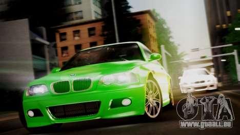 BMW M3 E46 v2 pour GTA San Andreas sur la vue arrière gauche