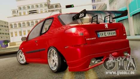 Peugeot 206 SD Coupe Tuning pour GTA San Andreas laissé vue