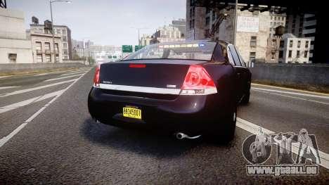 Chevrolet Impala Unmarked Police [ELS] ntw pour GTA 4 Vue arrière de la gauche