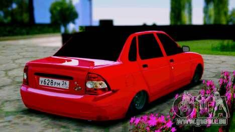 Lada 2170 Priora Le Spartak Moscou pour GTA San Andreas sur la vue arrière gauche
